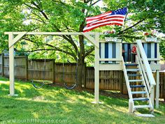 DIY Swing Set-- @Hannah Hughey ; Show this to Jake. Kyle and I can get the stuff and they can work on it through June and maybe have it done for his bday?? AND you and I can paint/decorate! :)
