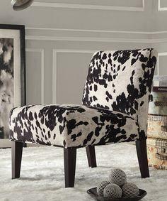 Look what I found on #zulily! Black Cowhide Slipper Chair #zulilyfinds