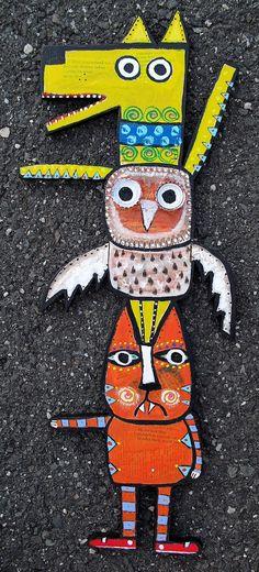 """Dog Owl Cat Totem"" Original wood cut out folk art by Tracey Ann Finley"