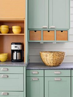 Refreshing color for kitchen in carriage house