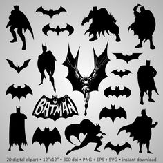 Buy 2 Get 1 Free Digital Clipart Silhouettes Batman by PeppyPapers
