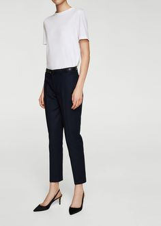 Discover the latest trends in Mango fashion, footwear and accessories. Pantalon Costume, Cotton Suit, Mango Fashion, Trouser Suits, Dark Navy, Trousers Women, Latest Trends, Cool Outfits, Latest Fashion Trends