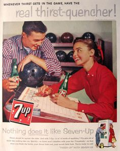 Retro 7Up ad @ a bowling alley