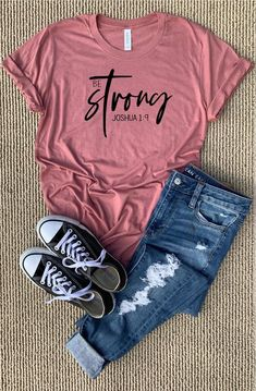 Be strong christian shirts christian gifts christian shirts for women be strong and courageous shirt joshua 1 9 Cute Tshirts, Mom Shirts, T Shirts For Women, Fall Shirts, Jesus Shirts, Christian Clothing, Christian Shirts, Teen Fashion Outfits, Casual Outfits