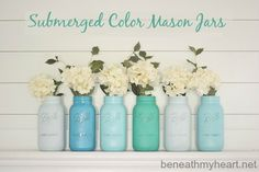 submerged colors mason jars #lowescreator beneathmyheart.net
