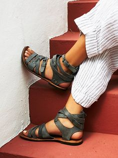Durango Metal Gladiator Sandals | Strappy washed leather sandals with stud detailing and adjustable buckles.