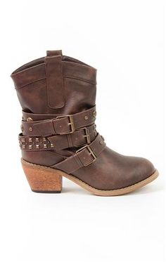 Deb Shops low #western #boot with four studded straps and stacked wood heel $40.90