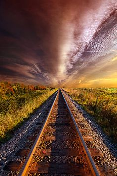~~Walking the Line Till the Morning Shines | the sun rises over train tracks, Wisconsin Horizons by Phil Koch~~