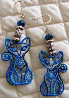 Blue Lace Cat Earrings  Lace Jewelry  Pet by TexasTangledThreads, $33.00