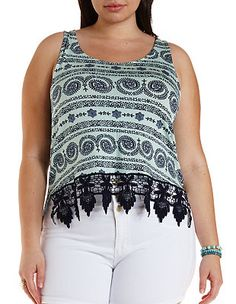 d10acb72a3 Plus Size Crochet-Trim Cropped Tank Top  Charlotte Russe