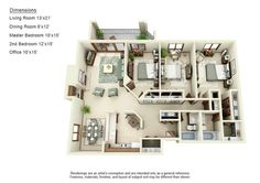 3bd/2ba apartment with a beautiful color scheme