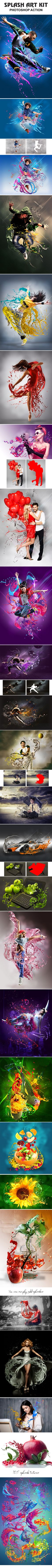 Splash Art Kit #Photoshop Action - Photo Effects Actions Download here:  https://graphicriver.net/item/splash-art-kit-photoshop-action/19409983?ref=alena994