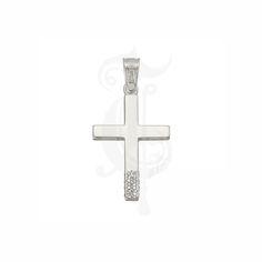 Βαπτιστικός σταυρός ΤΡΙΑΝΤΟΣ για κορίτσι λευκόχρυσος Κ14 με ζιργκόν μόνο στο κάτω μέρος του | Σταυροί βάπτισης ΤΣΑΛΔΑΡΗΣ στο Χαλάνδρι #Τριάντος #βάπτιση #κορίτσι #σταυρός