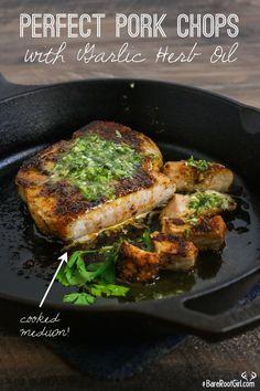 Perfect Pork Chops with Garlic Herb Oil - use aip seasonings/seasoning blend