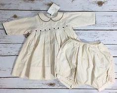 Marie Chantal Ivory Fine Wale Corduroy Baby Girl Dress Bloomers Set 3M New | eBay