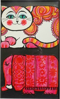 1960s illustration of a cat and elephant by A. Freitas.