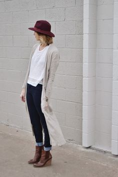 Maxi cardigan, jeans, booties, hat