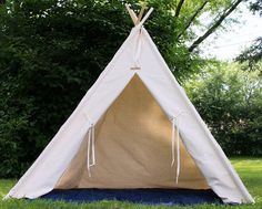 Ready to Ship XL Natural Canvas Teepee, Kids Play Tent, Childrens Tepee, Poles Included