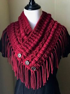 Best 12 Red Boston Harbor Scarf with Buttons, Handmade crochet cowl, Warm and soft neck warmer in Holly Berr – SkillOfKing. Crochet Triangle Scarf, Crochet Hooded Scarf, Crochet Fringe, Crochet Scarves, Crochet Clothes, Knit Crochet, Fall Accessories, Crochet Accessories, Crochet Cowl Free Pattern