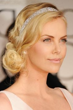 Side bun hairstyles for wedding brides and bridesmaid 2018 charlize theron Side bun hairstyles for blonde hair Wedding Bun Hairstyles, Side Swept Hairstyles, Headband Hairstyles, Vintage Hairstyles, 1920s Long Hairstyles, Fall Hairstyles, Gorgeous Hairstyles, Updo Hairstyle, Hairstyle Ideas