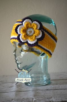 READY TO SHIP - Teen/Adult Minnesota Vikings Inspired Flower Earwarmer Headband with Logo Center - Football by SimplySquid on Etsy
