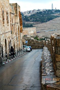 A street along the old city walls of the City of David, leading to the Western Wall.
