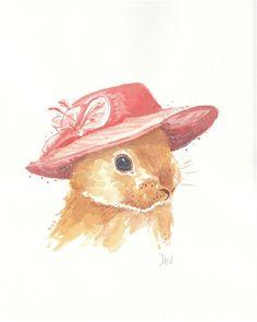 Rabbit in a Fancy Hat  ORIGINAL Watercolor por WaterInMyPaint