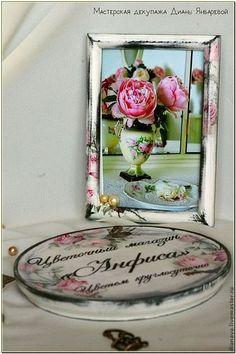 Рекламные вывески ручной работы. Комплект табличка, тарелка и фоторамка для магазина цветов. Диана Январева. Ярмарка Мастеров. Таблички для офиса