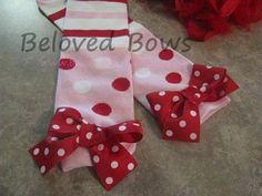 Red and Pink Polka Dot and Striped Leg Warmers for by belovedbows, $10.50