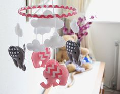 Nursery Mobile - Baby  Mobile - Chevron/polkadot Pink/Grey Elephant Mobile -  MADE TO ORDER by FlossyTots on Etsy