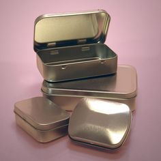 "Hinged Rectangular Tin Cans ""altoids tins"" for crafts or kits without having to buy a million altoids."
