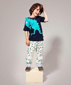 Ubang Babblechat Summer Dark Blue T-shirt with Fun T-rex. ubang-babblechat.en.emilea.be