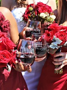 Set of 3 Bridesmaid Thank You Gift Will You Be My Bridesmaid Wine Glasses Wedding Coordinator Gift