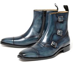 CORDWAINER Triple Monk strap boots [dark blue]