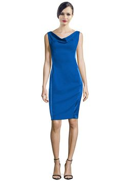 Rene Ruiz Cobalt Blue Cowl Neck Sleeveless Satin Panel Cocktail Eve Dress