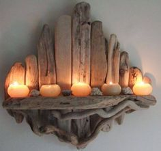 16 types of driftwood candle holders and individual parts required! - House garden 16 types of driftwood candle holders and individual parts required! Driftwood Shelf, Driftwood Candle Holders, Driftwood Projects, Driftwood Jewelry, Pallet Projects, Into The Woods, Rustic Decor, Rustic Shabby Chic, Coastal Decor
