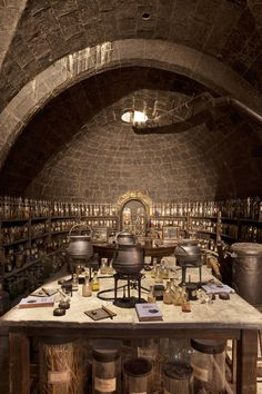 Snape's Classroom - The Potions Classroom is where Potions classes are taught. The classroom used to be squared-sized, very large, with large tables and windows. In the corner resides a stone basin used to wash students' hands and ladles.