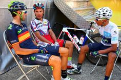 Nairo Alexander Quintana Rojas (R) of Colombia and Movistar Team speaks with Alejandro Valverde Belmonte (L) of Spain and Movistar Team and Joaquin Rodriguez Oliver of Spain and Team Katusha before the start of stage twelve of the 2015 Tour de France.