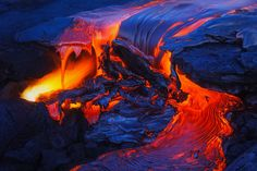 Molten Stream Continued - From a past post, another shot of this flow of lava getting larger.  Not sure whats going on with Pele but she has sure calm down a lot recently.