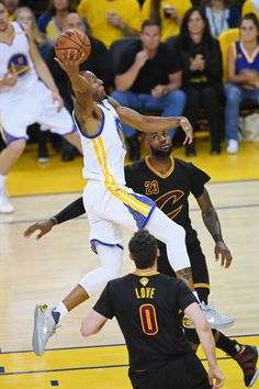 Andre Iguodala of the Golden State Warriors dunks the ball past Kevin Love and LeBron James of the Cleveland Cavaliers during the first half in Game. Cyo Basketball, Basketball Finals, Basketball Motivation, Basketball Scoreboard, Basketball Players, 2017 Nba Finals, 2018 Nba Champions, Best Nba Players, Curry Warriors