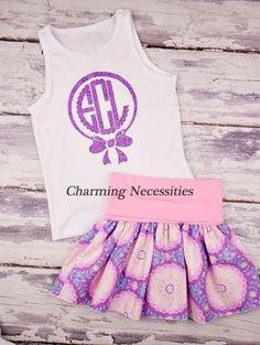 Lilac Daydream Yoga Waist Twirl Skirt with (optional) Glitter Monogram Tank Top-