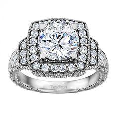 1.35 Carat Vintage Halo Engagement Ring - Engagement
