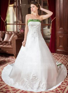 [US$ 298.99] A-Line/Princess Strapless Royal Train Satin Wedding Dress With Embroidered Sash Beading