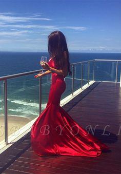 Simple Sleeveless Mermaid V-neck Red Long Prom Dress Event Dresses, Prom Party Dresses, Formal Dresses, Pink Brown, Blue Orange, Green Ocean, Blue Pool, Stunning Wedding Dresses, Pink Champagne