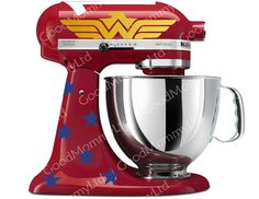 Wonder Woman Inspired Decal Kit for your Kitchenaid Stand Mixer - As Seen In Woman's World Magazine by GoodMommyLtd on Etsy https://www.etsy.com/listing/120787683/wonder-woman-inspired-decal-kit-for-your