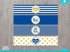 Diy baby shower decorations boy water bottles 41 ideas for 2019 Baby Shower Labels, Baby Shower Printables, Baby Boy Shower, Free Printables, Diy Baby Shower Decorations, Diy Wood Box, Royal Blue And Gold, Navy Blue, Diy For Teens