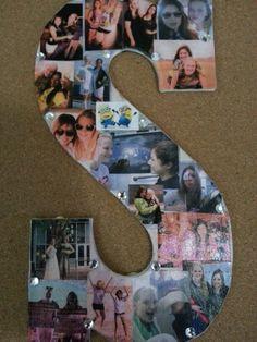 DIY: cute picture collage idea for college dorm.