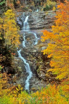 Silver Cascade, Crawford Notch, NH in the White Mountains in Autumn