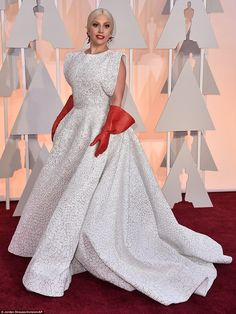 Lady Gaga wears three custom-made Azzedine Alaïa pieces -his first ever for the Oscars - which took 25 people three weeks to made