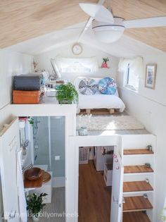 42 awesome tiny house ideas home design ideas tiny house, bu Tiny House Loft, Building A Tiny House, Tiny House Living, Tiny House Plans, Tiny House Design, Tiny House On Wheels, Living Room, Tiny Loft, Tiny House 2 Bedroom